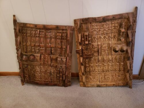Old Antique African Art Wooden Dogon Granary Doors Sliding Latch