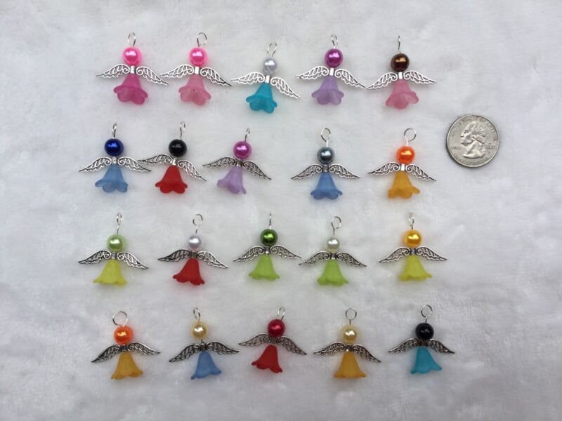 20 Mixed Guardian Angel Charms Pendants Wings Handmade Drop Dangle Free Ship L2