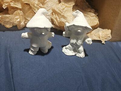 "Lot of 2 NEW Ceramic Bisque HALLOWEEN Scarecrows Crow Pumpkin 4"""
