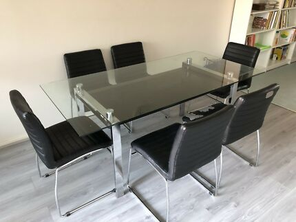 "Glass dining Table ""new idea furniture \'Ella\'"" with 6 free chairs ..."
