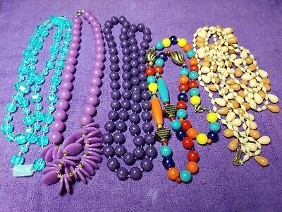 Cheap Beaded Necklaces (5 PC Vintage Tacky Gaudy Cheap Multi-Color Plastic Beaded Necklaces - 16