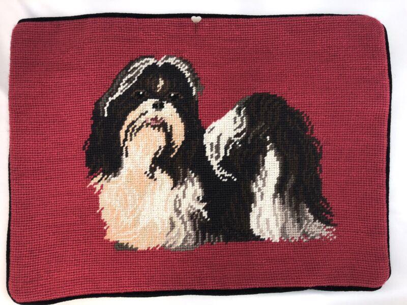 Lhasa Apso Dog Needlepoint Pillowcase Velveteen Back w/Zipper RED RARE