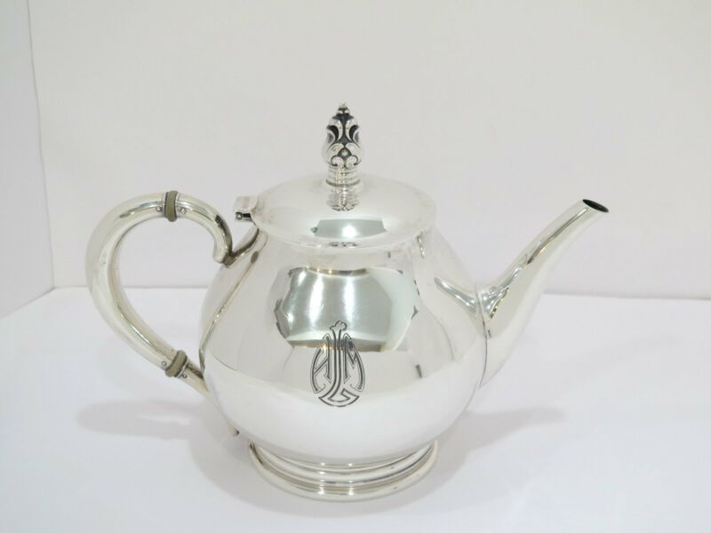 """10 in - Sterling Silver Cartier Antique """"Royal Danish"""" Teapot"""