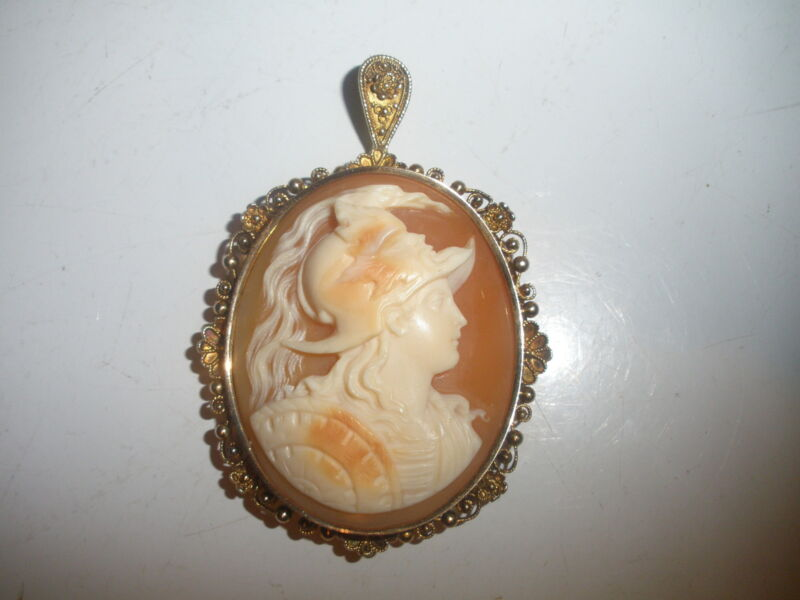 EXQUISITE ANTIQUE 14K GOLD CAMEO WARRIOR PENDANT  BEATIFUL