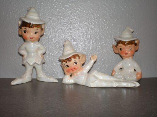 3 Vintage Ceramic Christmas Pixie Elves~White iridescent Finish ~ Artmark JAPAN