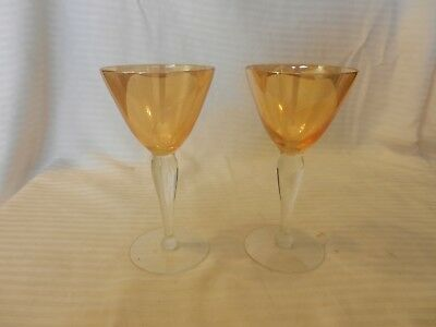 Small Martini Glasses (Pair of Small Yellow with Clear Stem Stem Martini Glasses 5.5