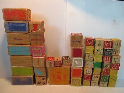 Lot Vintage Wood Alphabet Blocks / do show wear