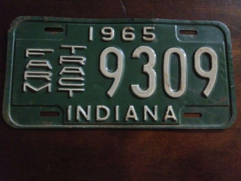 1965 Indiana Farm License Plate