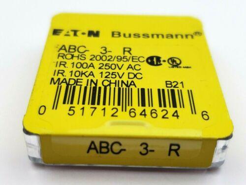 "Pack of 5 Bussmann ABC3 250V 3 Amp Ceramic 1/4"" x 1-1/4"" Fast Acting Fuses"