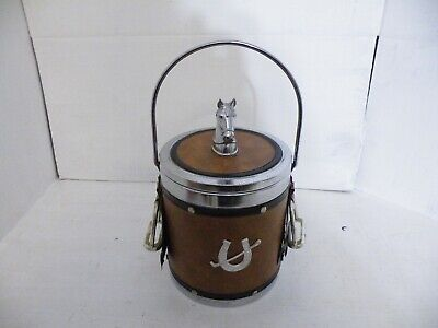 Vintage Ice Bucket Horse Riding Themed Retro Bar Pub Mancave Collectible