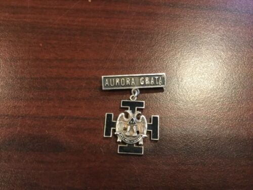 Antique Aurora Grata Sterling Silver Enamel Masonic Freemason Pin 32 Degrees