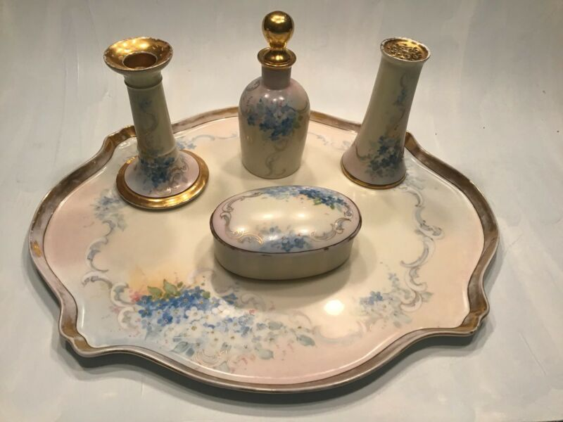 Antique Limoges Hand Painted Blue And White Flowers Ornate Vanity Set