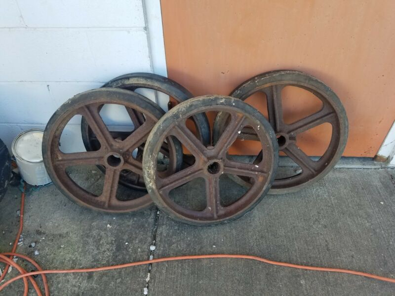 ANTIQUE CART WHEELS Large 20 Inch IRON  INDUSTRIAL Set Of 4 Matching