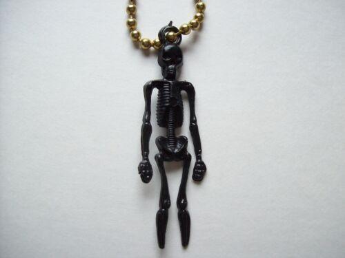 Vintage Halloween Plastic Skeleton Keychain Gothic Cool Dead Spooky Gift Black
