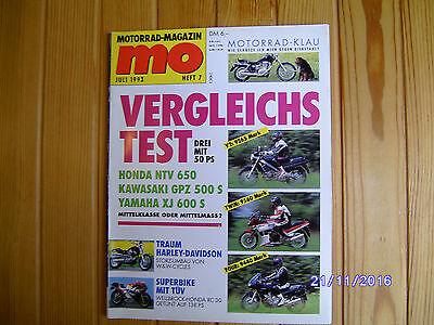 MO 7/1993 Honda NTV 650,Kawasaki GPZ 900 R + GPZ 500 S,Egu 350,Yamaha XJ 600 S