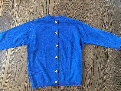 Ballantyne VTG Woman's Cardigan 100% CASHMERE Blue Sz 38 ~ Made in SCOTLAND ~