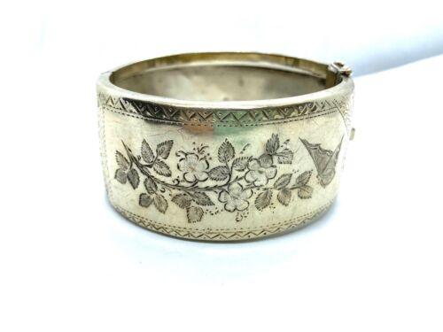 Antique Victorian 1885 Hallmarked St. Silver Wide Cuff Bangle Bracelet  37.2 gr