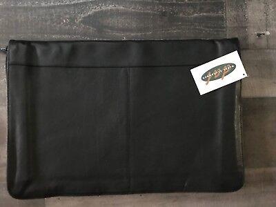 Derek Alexander Black Soft Leather Computer Portfolio Binder Attonery Zipper New
