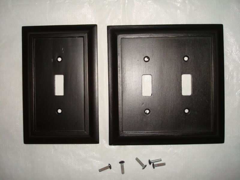 AmerTac 4045TT 4045T Traditional Wood Wallplate Dark Walnut Set of 2
