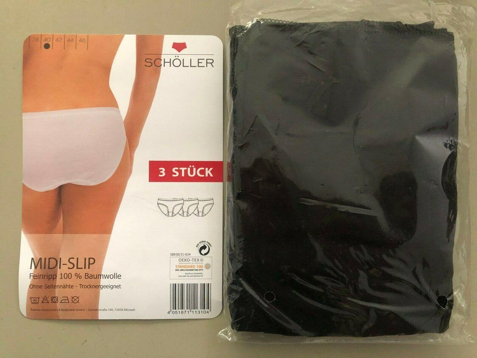 Damen Mode Slip Taillen oder Midi 3 er Pack Unterwäschereine Baumwolle Schölle