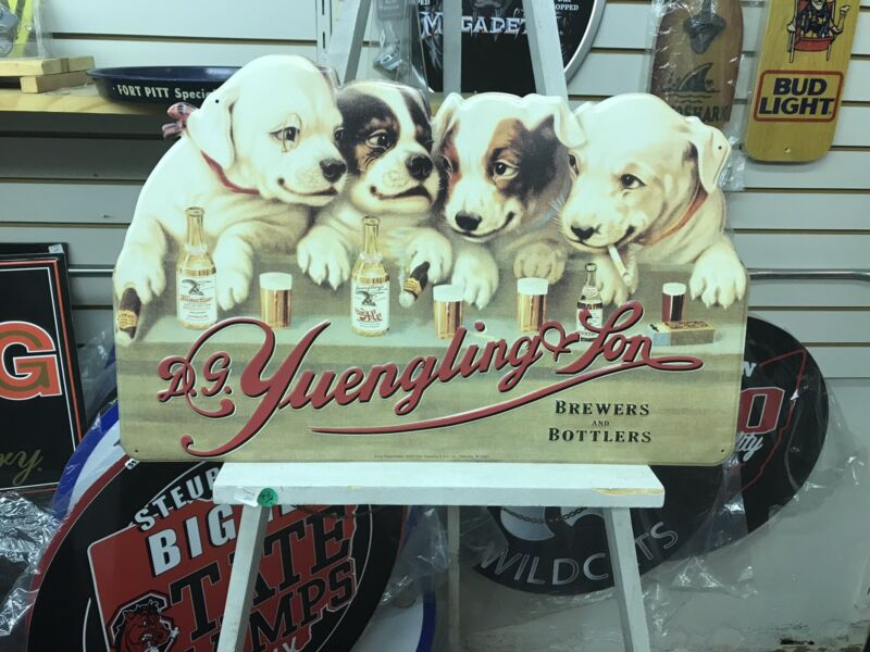 YUENGLING LAGER BEER PUPPY DOGS AT THE BAR EMBOSSED METAL SIGN (NEW) REAL NICE