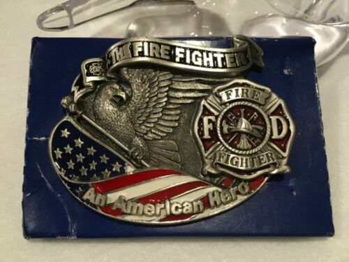 VINTAGE FIRE FIGHTER Belt Buckle Fireman American Hero 1994 GAP