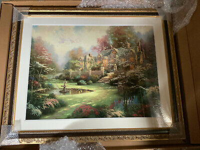Thomas Kinkade; Gardens Beyond Spring Gate Framed with Certificate & Appraisal