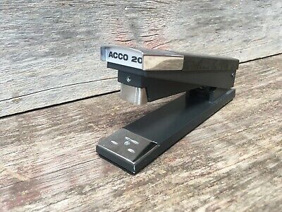 Vintage 1970s Acco 20 Black With Chrome Heavy Duty Desk Stapler Office