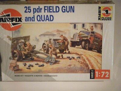 CLASSIC 1993 AIRFIX 1/72sc WW II Brit. QUAD Carrier & 25 Pdr FIELD GUN Model Kit