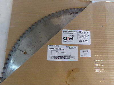 22 Saw Blade 22 X 120 Tc 32mm Arbor Approx 80 Life Left Ust-b0080 - Used