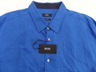 c13952aec NWT $165 Hugo Boss Slim Fit Blue Linen Shirt Mens 2XL Ronni _2 NEW