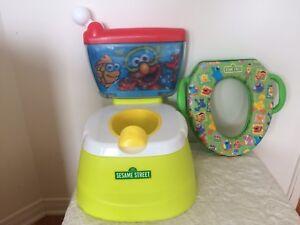 Petit pot et siège de toilette pour enfant.