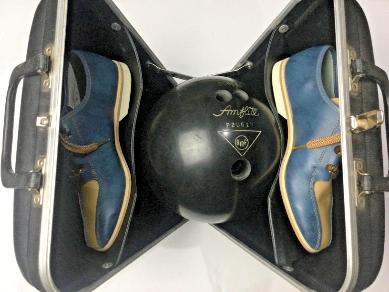 Vintage Amf Amflite Bowling Hard Case / Ball 10lb 12oz / Shoes 7 1/2 M