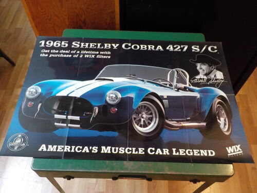 """WIX FILTERS STORE PROMO SHELBY COBRA POSTER 35 1/2""""X 23 3/4"""" GOOD SHAPE CARROLL"""