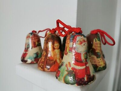 7 Vintage Christmas bell Baubles Decoupage  decorating Christmas tree