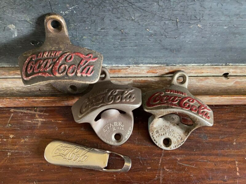 Vintage Coca Cola Bottle Openers (LOT OF 4) Incl. PAT. X & 2333088 FREE SHIPPING