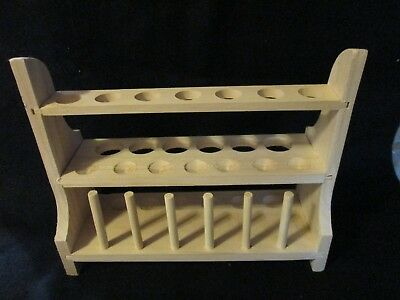 Laboratory Science Wood Test Tube Rack Multi Level 13 Holes Large Small Pegs New