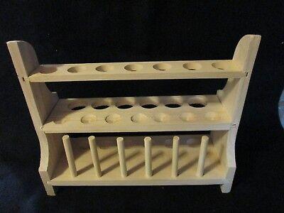 Laboratory Science Wood Test Tube Rack Multi Level 13 Holes Large Small Pegs New