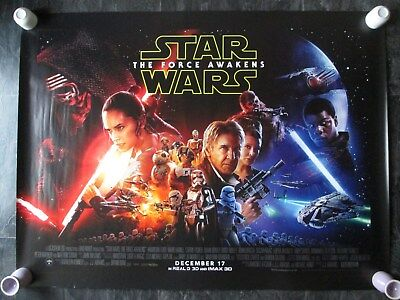STAR WARS THE FORCE AWAKENS ORIGINAL UK QUAD MOVIE POSTER 2015 DOUBLE SIDED RARE