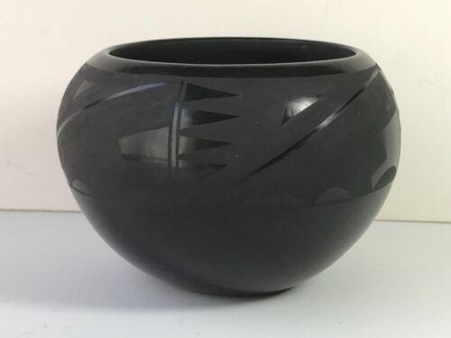 Margaret Garcia Santa Clara Pueblo Blackware Pottery Bowl Vase