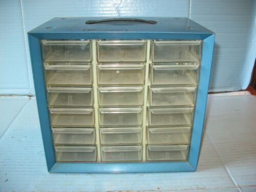 Vtg Akro-Mils 18 Drawer Blue Metal Parts Bin Cabinet