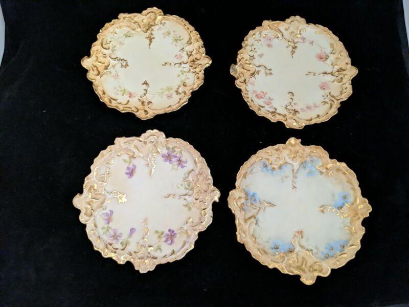 "4 Antique LEONARD Vienna Austria Hand Painted PORCELAIN Shelf Plates 6 1/2"""