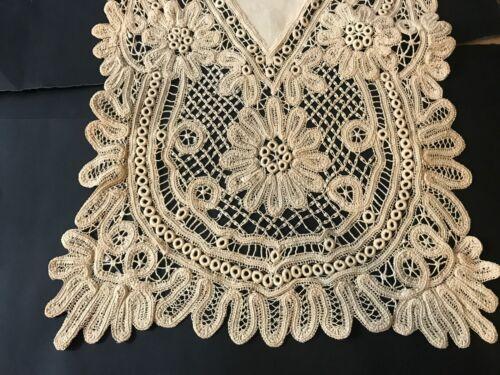 "Antique Elegant Royal Battenberg Hand Made Elaborate Lace Long Runner 70 x 17"""