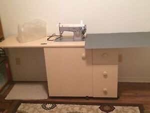 Sewing machine with desk