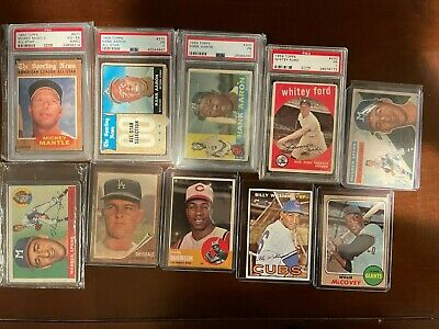 1950s 60s 70s Vintage Baseball Card Collection Lot Mantle Aaron - PSA and EX-MT