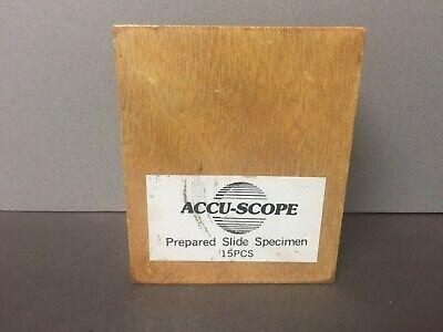 Accu-scope Microscope Glass Slides Biological Specimens 15 Pieces Prepared
