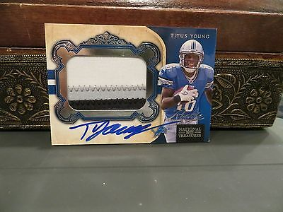 National Treasures Rookie Autograph Jersey Lions Titus Young  99/99  2011 image