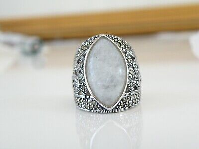 Vintage Style Sterling Silver 925 Chunky Moonstone Marcasite Big Ring Size 6