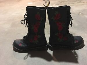 Rose embroidered leather 14 eyelet doc martens.