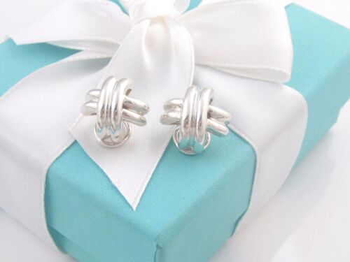 Auth Tiffany & Co Silver Signature Earrings Pierced Ears Pouch Included